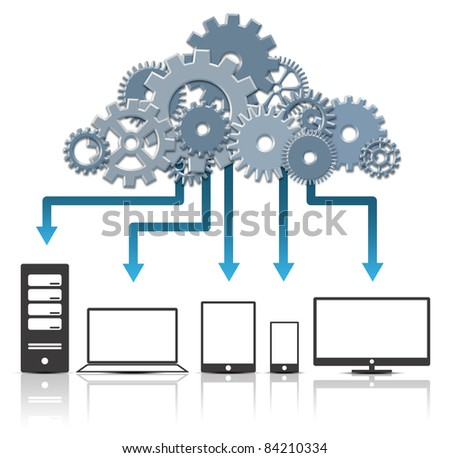 3D Cloud Computing Concept. Created Digitally.