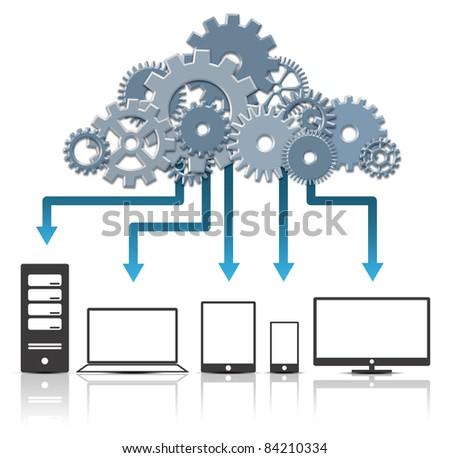3D Cloud Computing Concept. Created Digitally. - stock photo