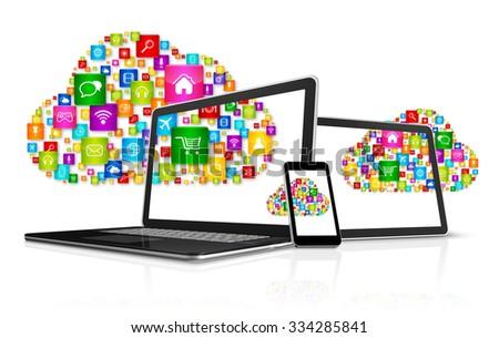 3D Cloud computing symbol and computer set - stock photo