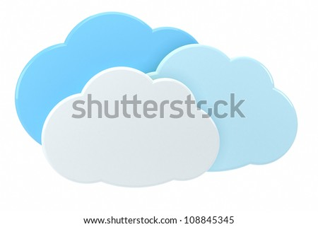3d cloud icons - high quality 3d illustration - stock photo