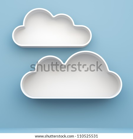 3D Cloud shelves and shelf design on background - stock photo