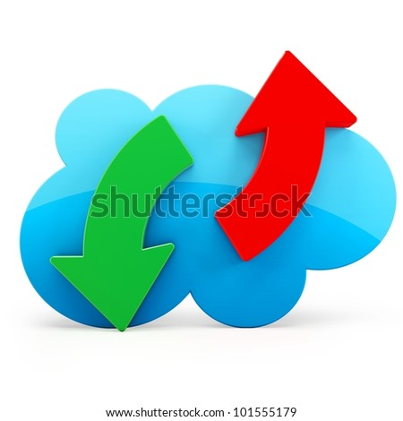 3d cloud storage download upload on white background