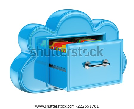 3D Cloud storage services concept . Isolated white background.  - stock photo