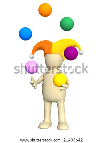 3d clown - puppet, juggling with color balls - stock photo