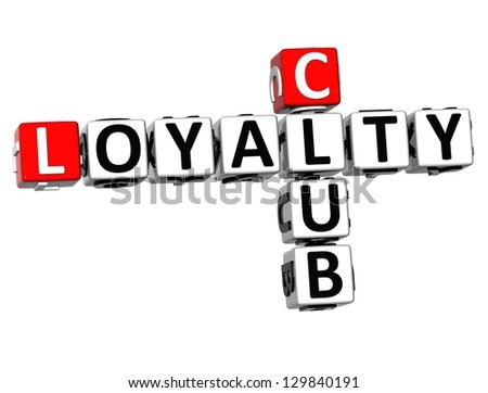 3D Club Loyalty Crossword on white background - stock photo