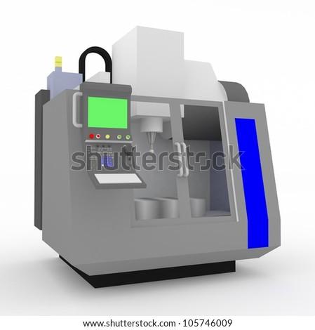 3D CNC milling machine - stock photo
