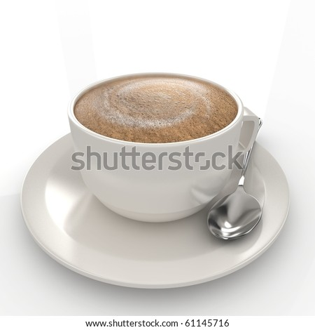 3d coffee cup with silver spoon isolated on white