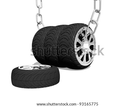 3d collage of tires - stock photo