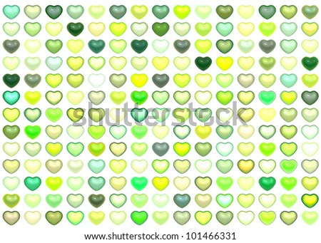 3d collection floating love heart in multiple green on white - stock photo