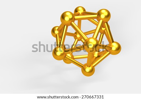 3D collection of gold objects. atomic molecule on white background. High resolution - stock photo