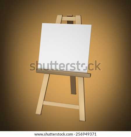 3D collection of gold objects. Blank white Canvas on easel. High resolution