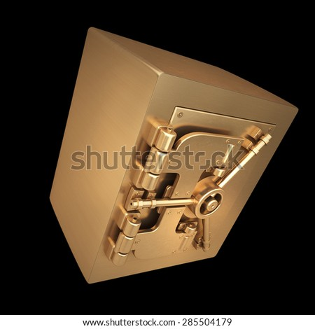 3D collection of gold objects. safe isolated on black background. High resolution
