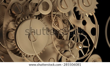 3D collection of gold objects. watch mechanism isolated on black background. High resolution