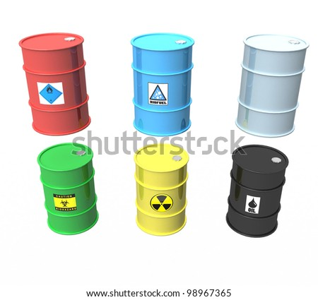 3d collection of industrial metal barrels on a white background isolated