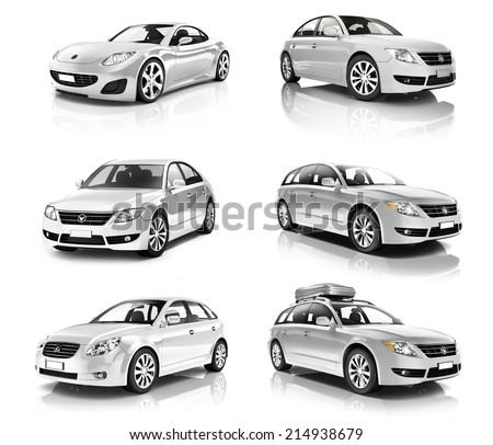 3D Collection of Luxury Silver Sports Car - stock photo