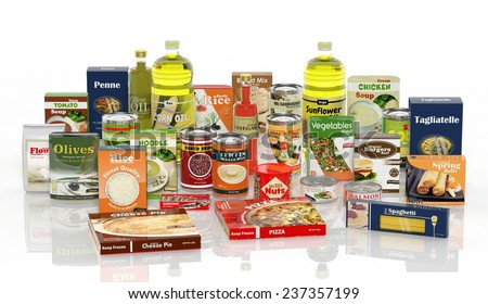 3D collection of packaged food isolated on white background  - stock photo