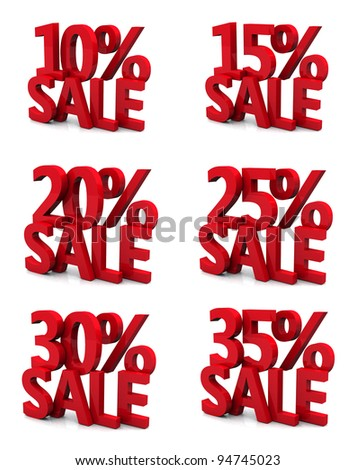 3d collection word sale 10 15 20 25 30 35 percent - stock photo