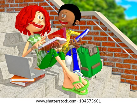 3D college students sitting on the stairs and talking - stock photo