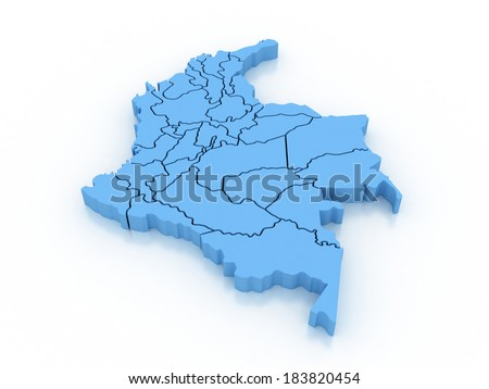 3 D Colombia Administrative Map Stock Illustration 183820454