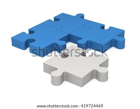3D color blue and white puzzle pieces isolated on white background. Concept innovations. - stock photo