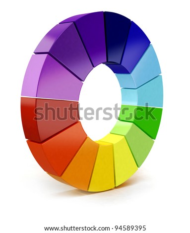 3D Color chart - isolated over a white background - stock photo