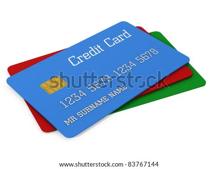 3d color credit cards - stock photo