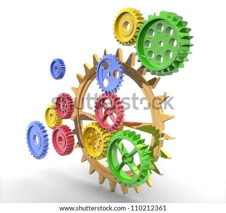 3d Color gears - stock photo