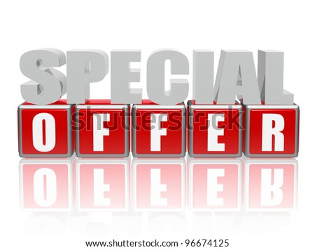 3d color letters and cubes with text - special offer - stock photo