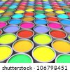 3d color paint cans - stock vector