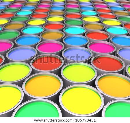 3d color paint cans - stock photo