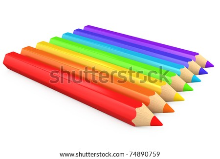 3d color pencils isolated