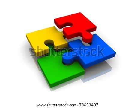 3d color puzzle - stock photo