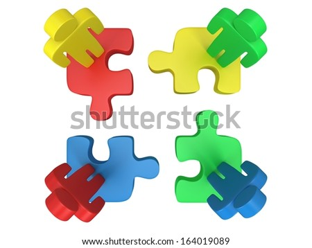3d color puzzle and people on white background. Business, teamwork, assembling concept.