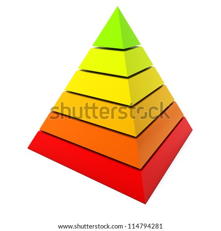 3D color pyramid diagram isolated on white background.