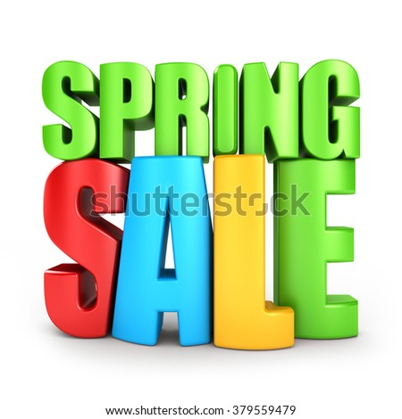 3d color text spring SALE, isolated over white background - stock photo