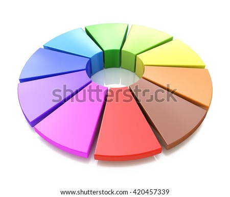 3d color wheel in the design of the information associated with the color palette. 3d illustration - stock photo