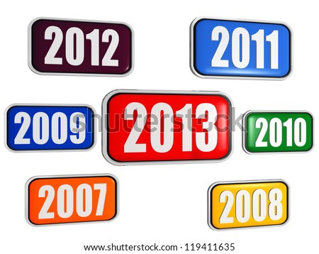 3d colored banners with figures - new year 2013 and previous years, business concept - stock photo