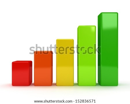 3d colored bar graph on white - stock photo