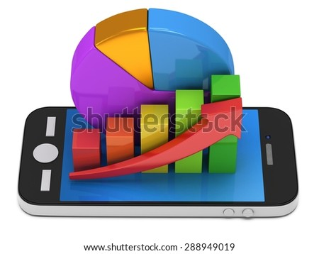 3d colored bar graph with red arrow growing up and pie chart on smartphone. Mobile apps concept. 3D render isolated on white background - stock photo