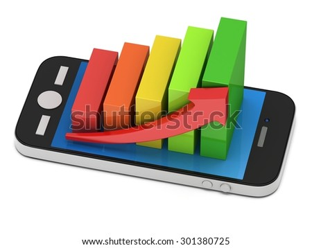 3d colored bar graph with red arrow growing up on smartphone. Mobile apps concept. 3D render isolated on white background - stock photo