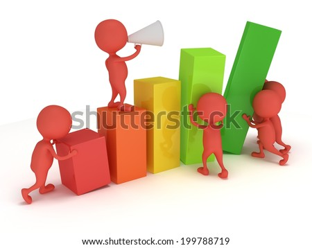 3D colored bar graph with team of red people who helps statistics grow up