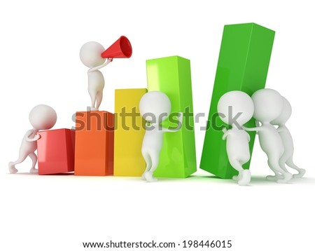 3D colored bar graph with team of white people who helps statistics grow up - stock photo