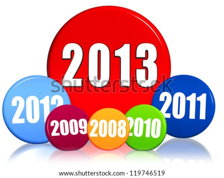 3d colored circles with figures - new year 2013 and previous years, business concept - stock photo