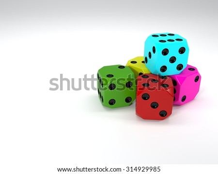 3D Colored Dices.
