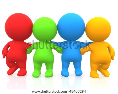 3D colored group of four friends isolated over a white background