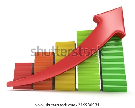 3d colored stack of books bar graph chart with red arrow growing up on white. Grow, chart, business statistic study back to school education concept - stock photo