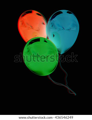3d colorful balloons on a black background. 3D illustration. Anaglyph. View with red/cyan glasses to see in 3D. - stock photo