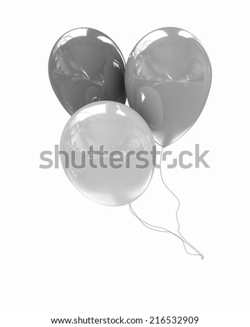 3d colorful balloons on a white background - stock photo