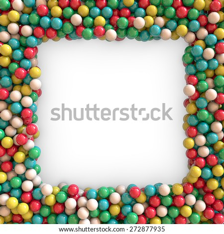 3d colorful beads border background - stock photo