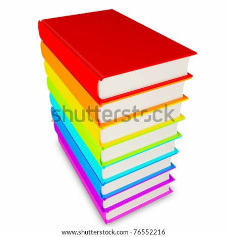 3d colorful books stack isolated on a white background (clipping path)